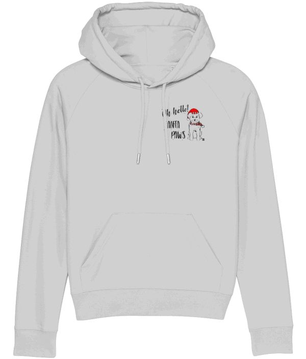 Oh Hello! Santa Paws Women's Hoodie in Heather Grey with small dog motif placed on the left chest pocket area