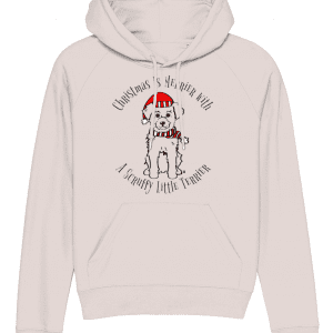 Christmas Is Merrier women's Hoodie in pink with dog in santa hat motif
