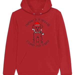 Christmas Is Merrier Unisex Hoodie in Red with dog in santa hat motif