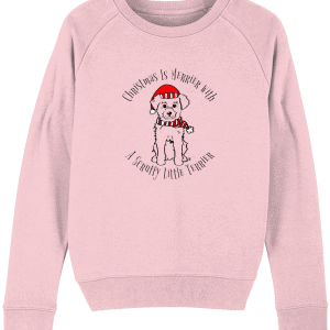 Christmas Is Merrier Women's Sweatshirt in pink with dog in santa hat motif
