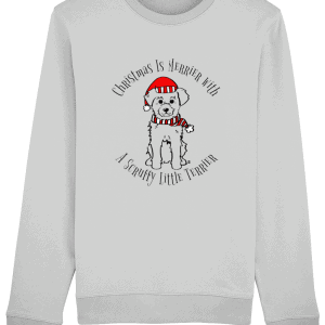 Christmas Is Merrier Unisex Sweatshirt in heather grey with dog in santa hat motif