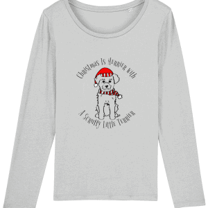Christmas Is Merrier Women's Long-Sleeved T-Shirt in heather grey with dog in santa hat motif