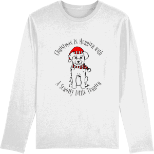 Christmas Is Merrier Unisex Long-Sleeved T-Shirt in white with dog in santa hat motif