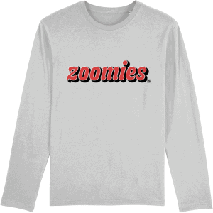Grey long-sleeved unisex t-shirt with Zoomies slogan in red on the front