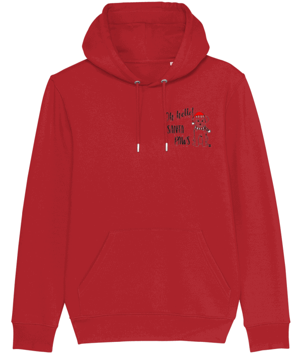 Oh Hello! Santa Paws Unisex Hoodie with small dog motif on left of chest pocket area