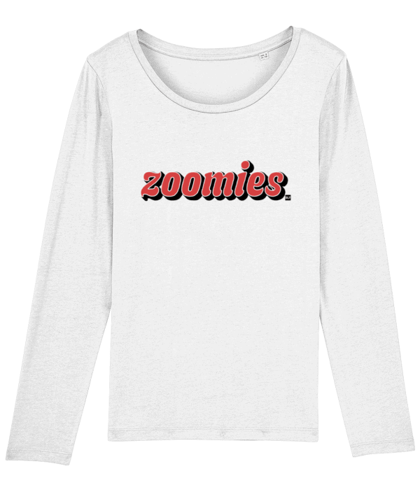 White long-sleeved women's t-shirt with Zoomies slogan in red on the front