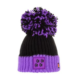 Black and purple wool Doggy Style Bobble Hat with dog paws badge on the front
