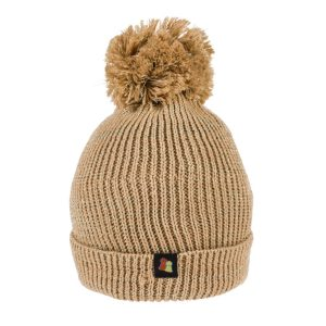 Sparkly Bobble Hat in neutral gold metallic wool