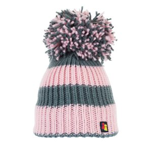 Mauve Mayhem Pink and Light Grey stripe Bobble Hat