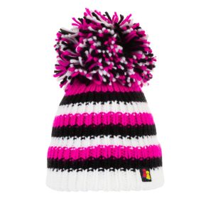 Pink Zebra stripey wool Bobble Hat in bright pink, black and white stripes