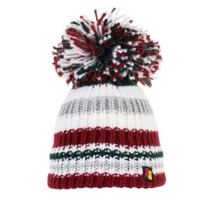 Yule Love This Bobble Hat in Burgundy, Green, White and Silver stripes