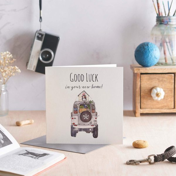 New Home Greeting Card featuring landrover with a dog in a dog kennel on the top