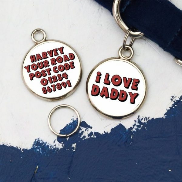 Pawsome Pet Tags I Love Daddy Round Dog Tag