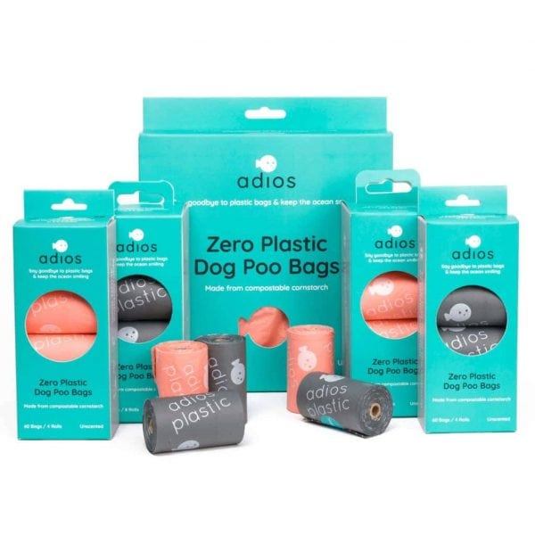 Coral and grey plastic free poo bags by Adios Plastic, different sizes in turquoise boxes with a white background.
