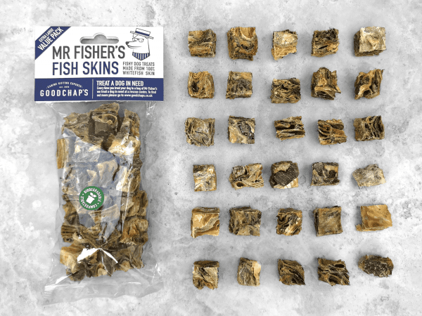 Goodchaps Mr Fisher's Fish Skins Value Pack with a clear bag laying down with the treats laying in a row next to it.