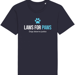Laws For Paws T-Shirt in navy colour with paw print in blue and slogan Laws For Paws and Dogs Deserve Justice