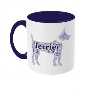 National Terrier Day Mug in blue and white with a dog shape full of terrier breeds