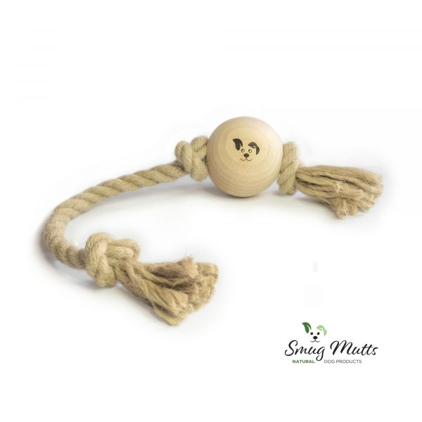 Smug Mutts Knot Put wood and rope dog toy laying on a plain white background