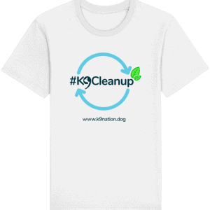 K9 Clean Up Unisex T-shirt white t-shirt with blue circle with arrows