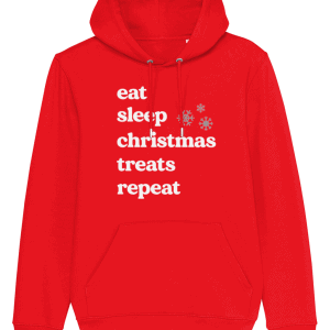 Eat Sleep Christmas Treats Repeat Dog Lover Christmas Hoodie in red with white writing and 2 snowflakes
