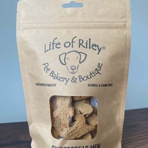 Life of Riley Mini Gingerbread Men Dog Biscuits in a brown bag with clear window