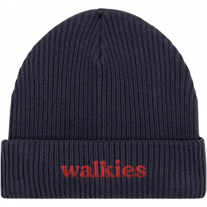 Walkies Fisherman Beanie organic cotton knitted beanie in navy with red embroidered walkies word