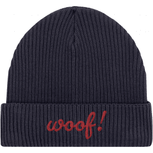 Woof! Fisherman Beanie in navy with red embroidered word woof! on the brim